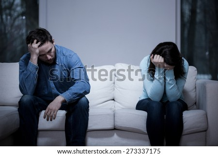 Picture of young couple having difficulties in relationship - stock photo