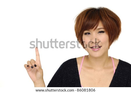 picture of young girl with her finger up - stock photo