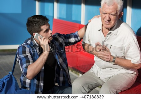 Picture of young man calling for help - stock photo