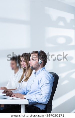 Picture of young people and career in telemarketing service - stock photo