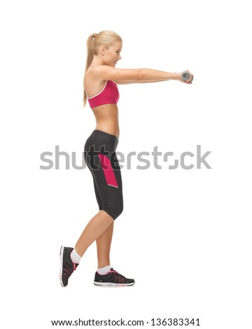 picture of young sporty woman with light dumbbells
