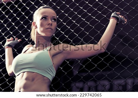 picture of young woman presenting an athletic body - stock photo