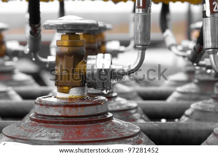 picture off a valve outside with shallow depth off field - stock photo