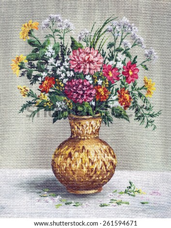 Picture Oil Painting on a Canvas, a Bouquet of Flowers in a African Vase - stock photo