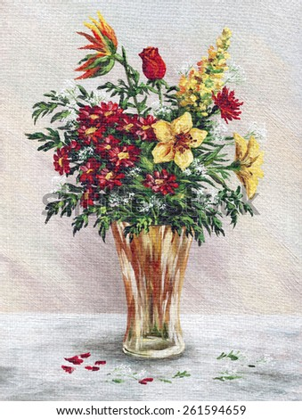 Picture Oil Painting on a Canvas, a Bouquet of Flowers in a Glass Vase - stock photo