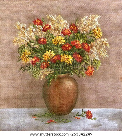 Picture Oil Painting on a Canvas, a Bouquet of Marigold And Saffron in a Clay Vase - stock photo