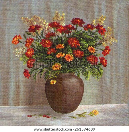 Picture Oil Painting on a Canvas, a Bouquet of Marigold Flowers in a Clay Pot - stock photo