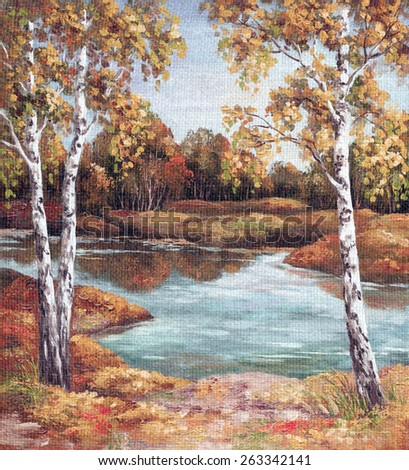 Picture Oil Painting on a Canvas, Landscape, Birches Trees on Coast, Autumn - stock photo