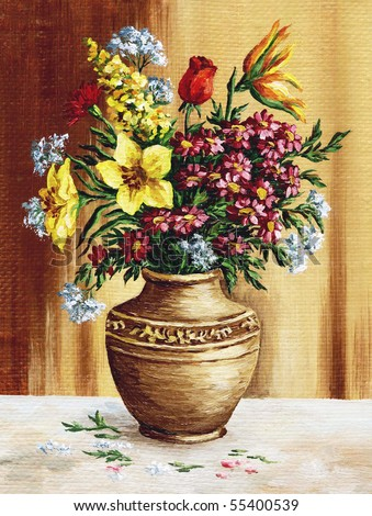 Picture oil paints on a canvas: a bouquet of garden flowers in a clay amphora - stock photo