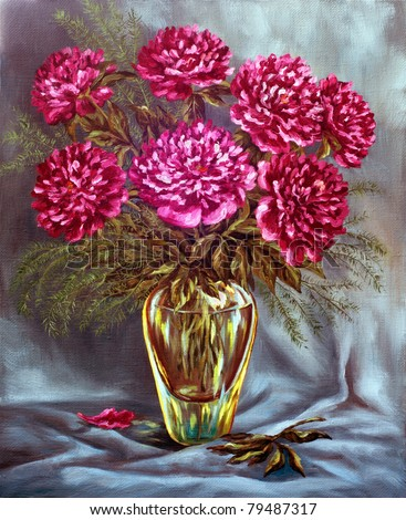 Picture oil paints on a canvas: a bouquet of peonies in a glass vase - stock photo