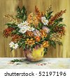 Picture oil paints on a canvas: bouquet of wild flowers in a clay pot - stock photo