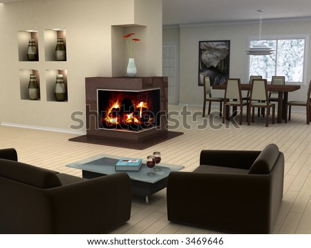 Picture on the wall and book cover are my own images. Modern living room with a fireplace. - stock photo