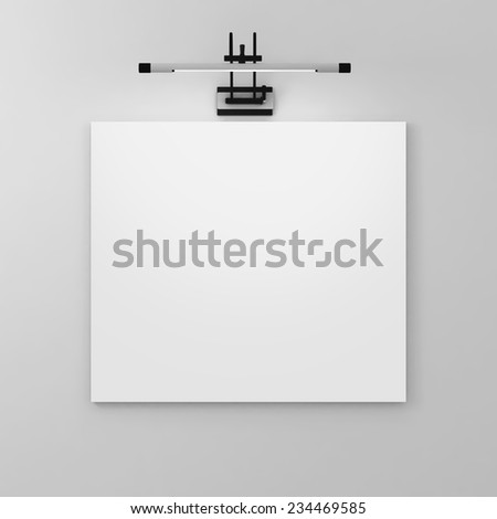 Picture On The Wall With Light Gray scale. Blank of gallery. - stock photo