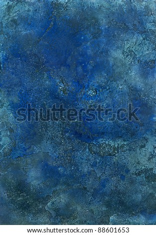 picture painted by me named Oceanic Surface, it shows a full frame abstract rough surface in various blue colors