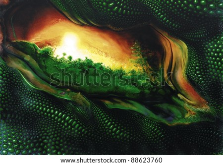 picture painted by me named Superficial Glance, it suggests a green jungle and reptile scaled eye-like scenery