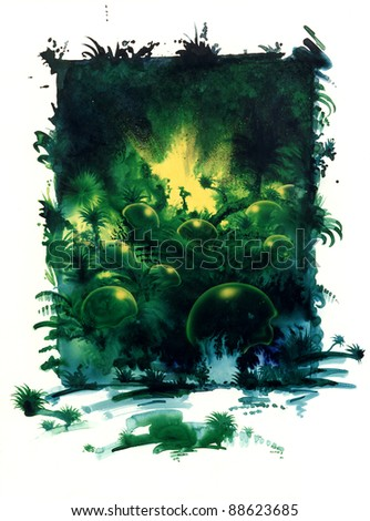 picture painted by me named Terrain Culpa, it shows a dense jungle scenery with  yellow translucent bubbles