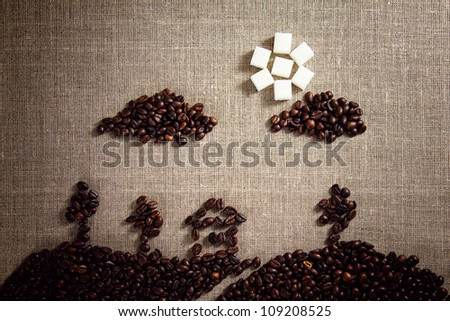 Picture painted with coffee beans - stock photo
