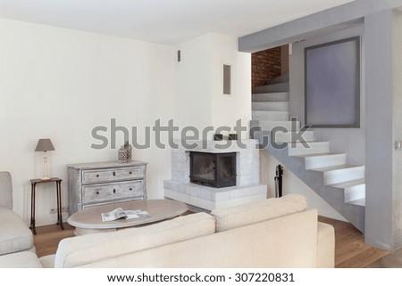 Picture presenting retro modern living room design - stock photo