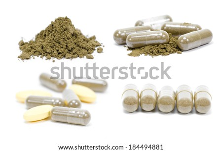 picture set of andrographis paniculata herbal antipyretic capsules isolated on white - stock photo