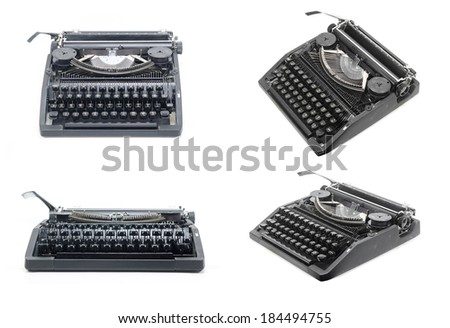 picture set of Antique typewriter against a crisp white backdrop.