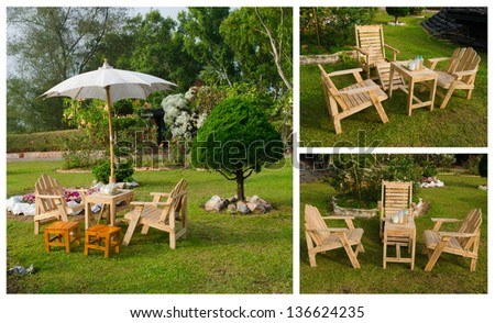 picture set of English garden in summer
