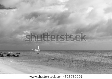 Picture showing a big sailboat on sea navigating towards the beach. The image was taken from Arashi Beach, Aruba, in the Caribbean Sea.