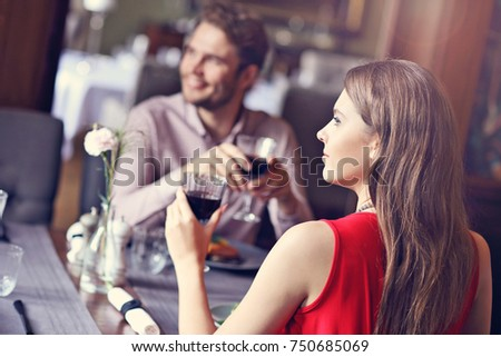 Picture showing romantic couple dating in restaurant