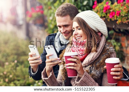 Picture showing young couple on date in the city
