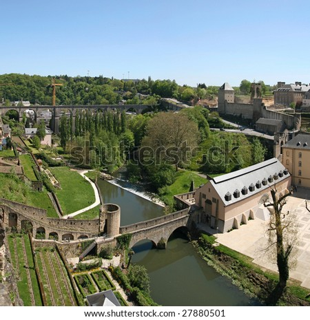 "Picture taken from the ""Corniche"". The financial place. One of the main tourist attractions in Luxembourg city. Luxembourg. - stock photo"