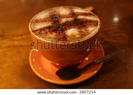Picture taken of a cup of cappuccino in Italy - stock photo
