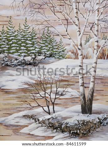Picture, winter landscape. hand-draw, distemper on a birch bark - stock photo
