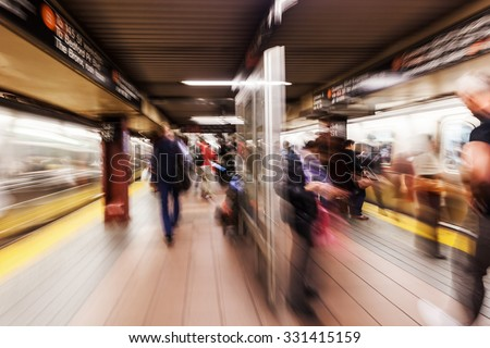 picture with creative zoom effect made by camera of a subway station in New York City - stock photo