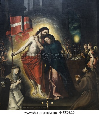 Picture with risen Christ and Madonna, with angels and saints, Italy Renaissance, seventeenth century - stock photo