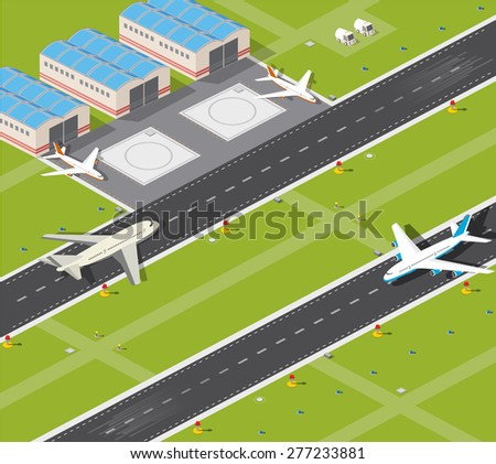 Picture with the image planes and airport runway - stock photo
