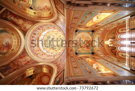 Pictured ceiling near balcony inside Cathedral of Christ the Saviour in Moscow, Russia - stock photo
