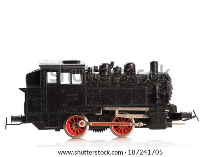 Pictured items of a toy railroad.