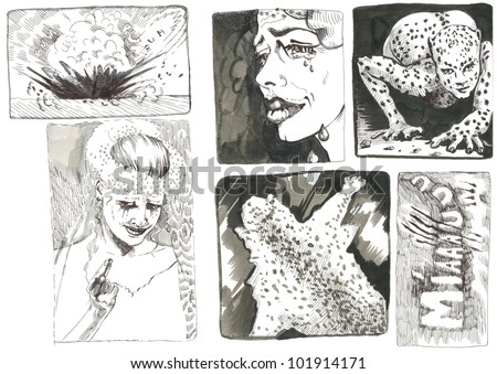 Pictures and frames inspired by classic underground comix - LEOPARD FEMALE AND HER FRIEND LEOPARD - this is original picture - technical black marker and black ink, drawing - stock photo
