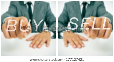 pictures of a businessman sitting in a desk pointing the words buy and sell written in the foreground - stock photo