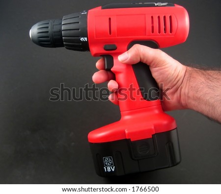 Pictures of a cordless, portable drill - stock photo