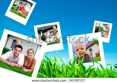 Pictures of a happy family flying on blue sky - stock photo