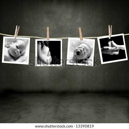 Pictures of a newborn and mother in a darkroom - stock photo