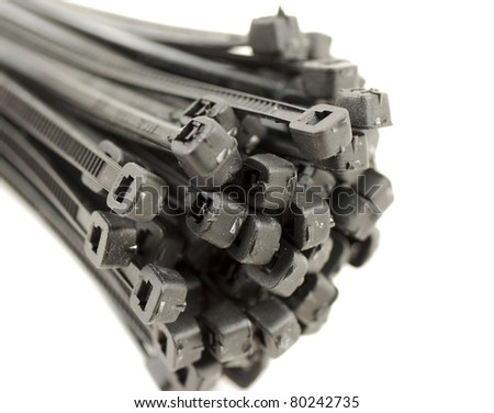pictures of black cable ties - stock photo