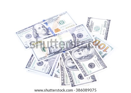 pictures of dollar banknotes on a white background