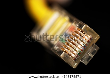 pictures of ethernet connector used for connection to internet - stock photo