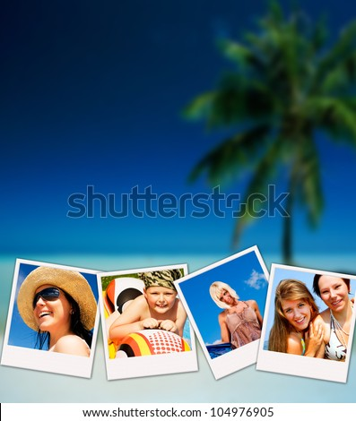 pictures of holiday people having rest with beach in background - stock photo
