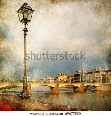 pictures of Italy - Florence - artistic retro style - stock photo