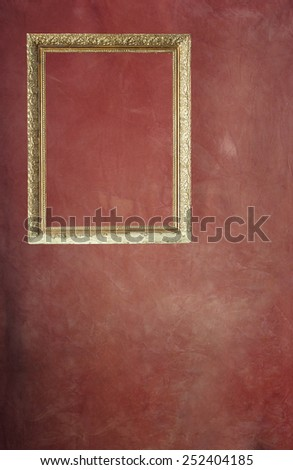 Pictures of old wooden frame in red background, unfocused - stock photo