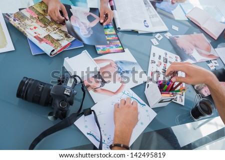 Pictures of photos and magazines used by photo editors - stock photo