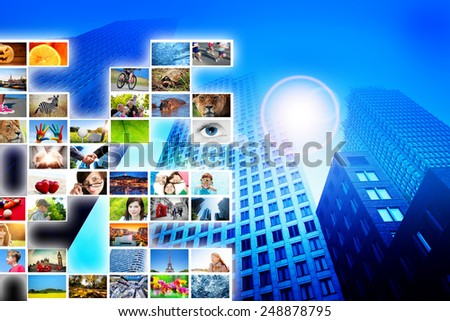 Pictures, photos display on modern skyscraper background. Media, technology conceptual.