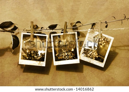 Pictures pinned on clothesline/ Sepia tone - stock photo